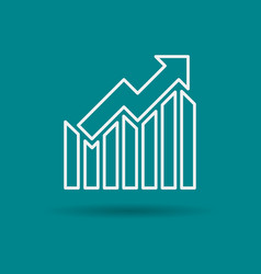 Isolated linear icon of growth chart vector