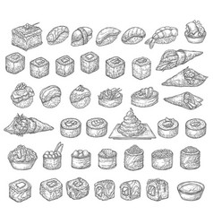 japanese sushi isolated sketches asian food vector image