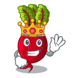 King whole beetroots with green leaves cartoon vector