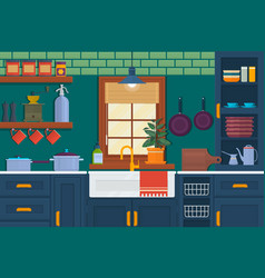 Kitchen with furniture cozy room interior vector