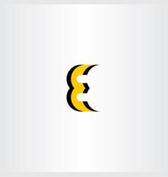 letter e yellow black icon logo vector image