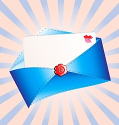 letter in a blue envelope vector image
