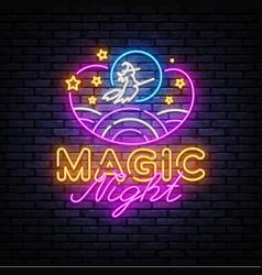 magic night neon sign magic show neon vector image