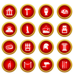 Museum icon red circle set vector
