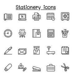 office stationery icon set in thin line style vector image