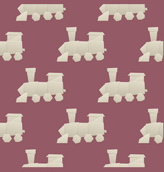 Origami logistic paper train transport seamless vector