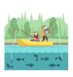 Outdoor summer activities fishing sport vector