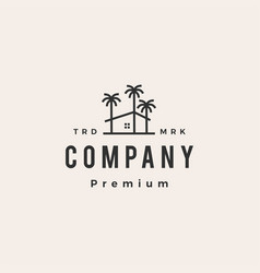 palm tree house coconut hipster vintage logo icon vector image