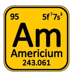 Periodic table element americium icon vector