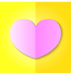 Pink Heart on Yellow Background vector image