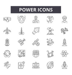 power line icons signs set linear vector image