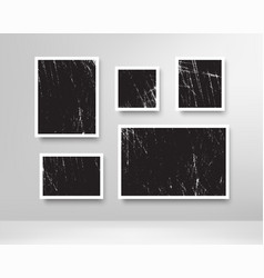 realistic scratched photo frames blank photos vector image