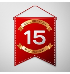 Red pennant with inscription Fifteen Years vector