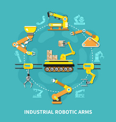 robotic arm round composition vector image