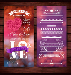 Save the date wedding stationery over wood surface vector