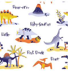 Seamless cartoon dinosaurs pattern babackground vector