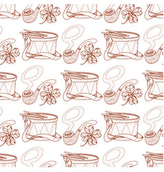Seamless pattern with a drum and pipes vector