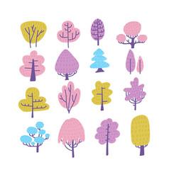 set cartoon doodle trees beautiful hand drawn vector image