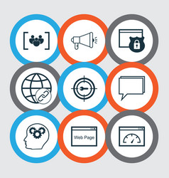 Set of 9 marketing icons includes keyword vector