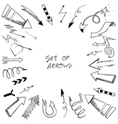 Set of arrows with sketch style vector