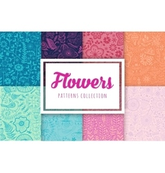 Set of eight colorful floral patterns seamlessly vector