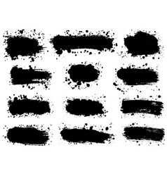 set of splatter hand drawn paint texture black vector image