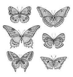 set six ornate doodle hand drawn butterflies vector image