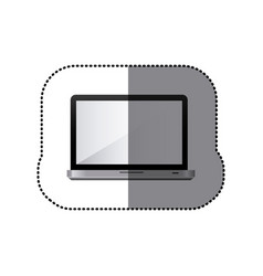 Sticker realistic tech laptop computer icon vector
