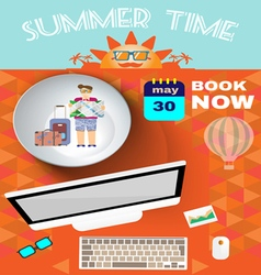 Summer time orange infographic with book now text vector image