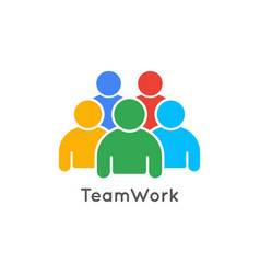 teamwork icon business concept team work logo vector image