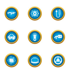 Technical weapon icons set flat style vector