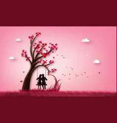 two enamored under a love tree vector image