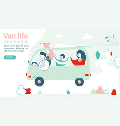 Van life movement lifestyle concept family in a vector