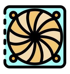 Ventilation fan under cover icon color outline vector