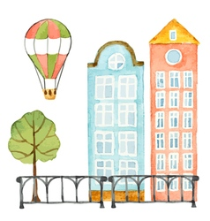 Watercolor elements urban design house tree vector