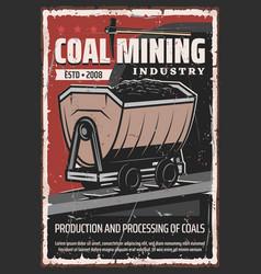 wheelbarrow with ore tunnel coal mining industry vector image