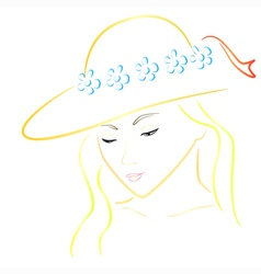 woman in hat colorful vector image