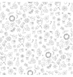 christmas seamless pattern xmas elements symbols vector image