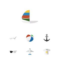 Flat icon beach set of aircraft deck chair ship vector