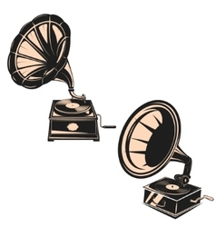 Set of the gramophones isolated on white vector image vector image