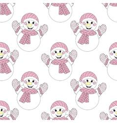 zentangle snowman seamless pattern Hand drawn vector image vector image