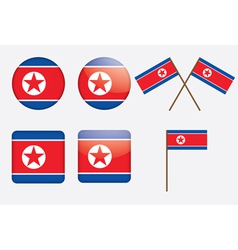badges with flag of North Korea vector image