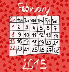 Calendar for February 2015 Cartoon Style Hearts vector image vector image