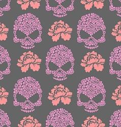 Flower skull seamless pttern Skull of pink flowers vector image