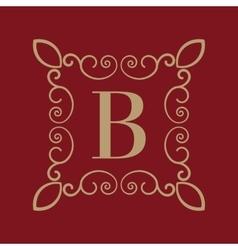 Monogram letter B Calligraphic ornament Gold vector image vector image