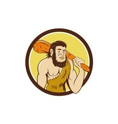 Neanderthal Man Holding Club Circle Cartoon vector image