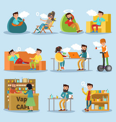 people in vape cafe collection vector image vector image