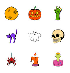 pumpkin lantern icons set cartoon style vector image vector image