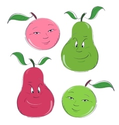 Set of apple and pear characters vector image
