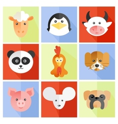 Set of flat animal vector image vector image